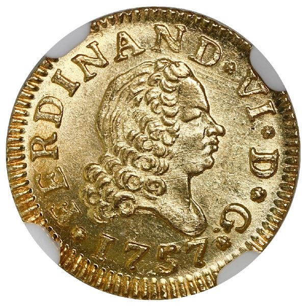 Madrid, Spain, gold bust 1/2 escudo, Ferdinand VI, 1757JB, NGC MS 65.
