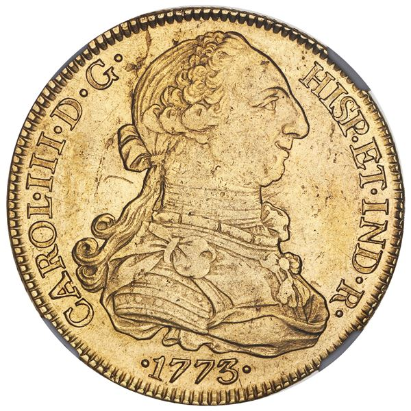 Seville, Spain, gold bust 8 escudos, Charles III, 1773CF, with dot between C and F, NGC AU details /