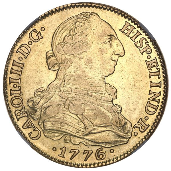 Seville, Spain, gold bust 8 escudos, Charles III, 1776/5CF, NGC AU 53.