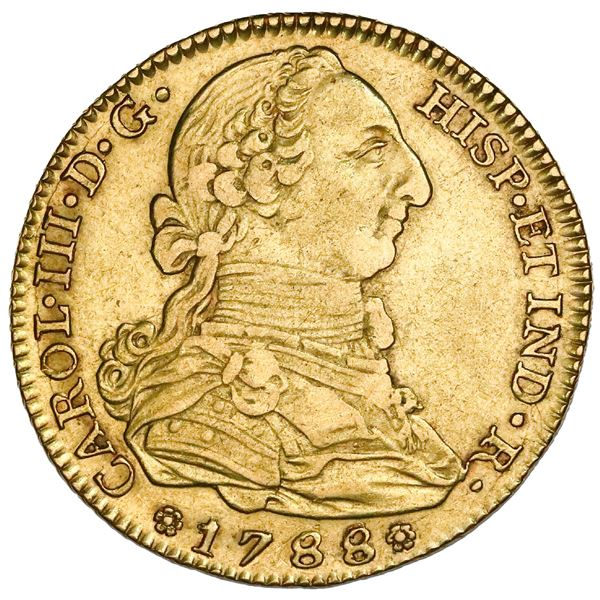 Madrid, Spain, gold bust 4 escudos, Charles III, 1788/3M/JD, rare (unlisted), NGC XF 45, finest and