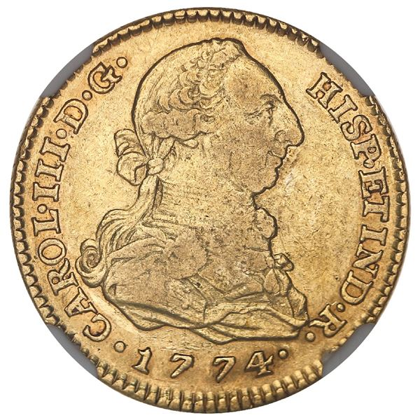 Madrid, Spain, gold bust 2 escudos, Charles III, 1774PJ, NGC VF 35.