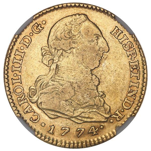 Madrid, Spain, gold bust 2 escudos, Charles III, 1774PJ, NGC VF 35.