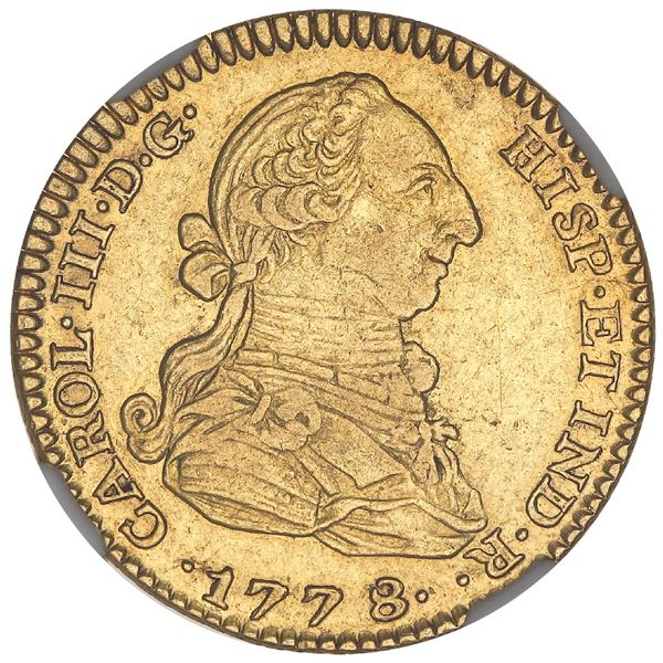 Madrid, Spain, gold bust 2 escudos, Charles III, 1778/7PJ, NGC XF 45, ex-Iriarte (stated on label),