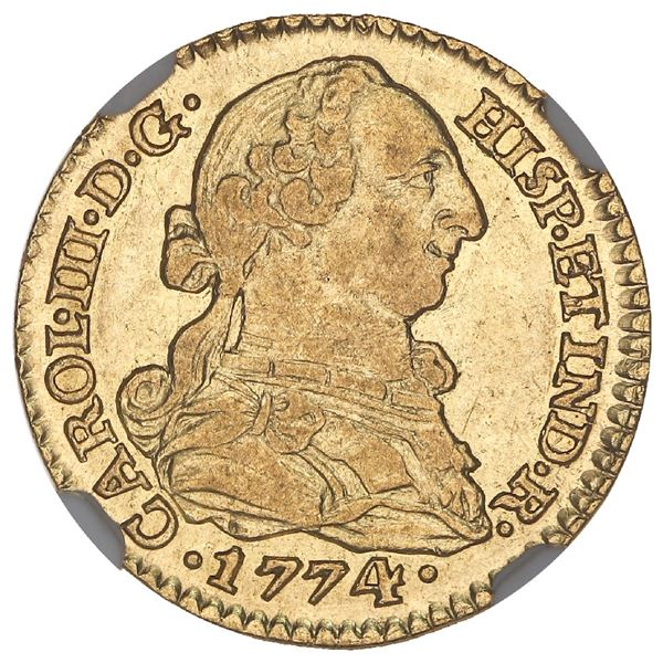 Sevilla, Spain, gold bust 1 escudo, Charles III, 1774CF, NGC AU 58, finest known in NGC census.