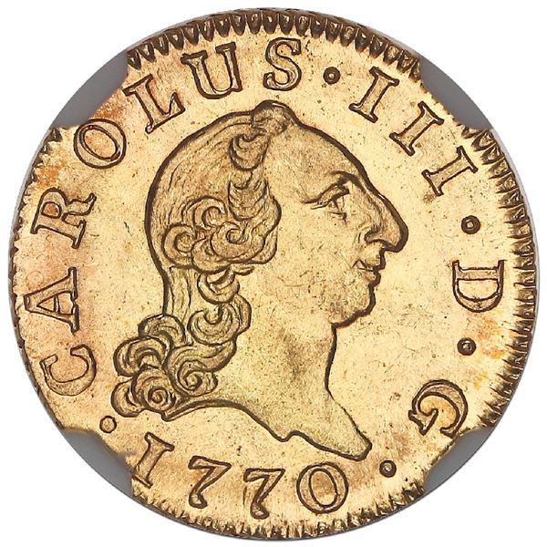 """Madrid, Spain, gold bust 1/2 escudo, Charles III (young bust), 1770PJ, NGC MS 64 (""""top pop"""")."""