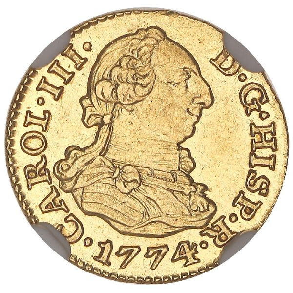 Madrid, Spain, gold bust 1/2 escudo, Charles III, 1774PJ, NGC MS 63.