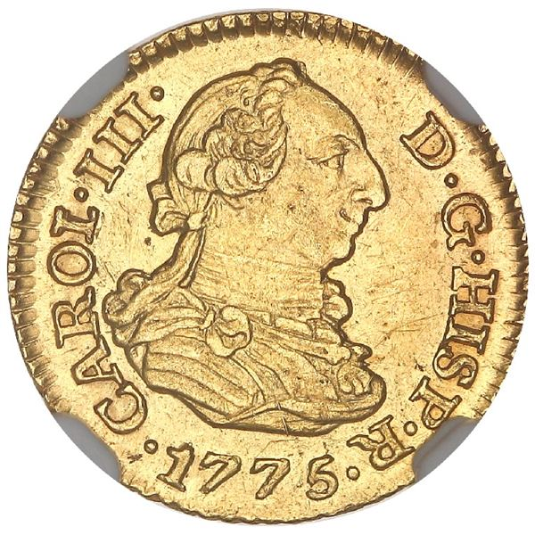 Madrid, Spain, gold bust 1/2 escudo, Charles III, 1775PJ, NGC MS 63, finest known in NGC census.