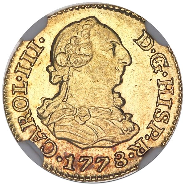 Madrid, Spain, gold bust 1/2 escudo, Charles III, 1778PJ, NGC MS 64.