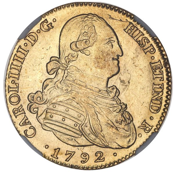 Madrid, Spain, gold bust 4 escudos, Charles IV, 1792MF, NGC MS 62.