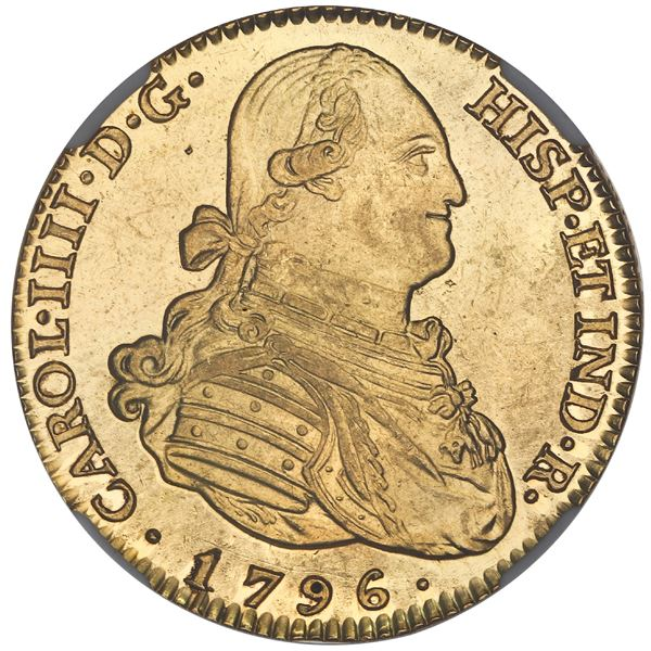 Madrid, Spain, gold bust 4 escudos, Charles IV, 1796MF, NGC MS 63 PL, finest known in NGC census.
