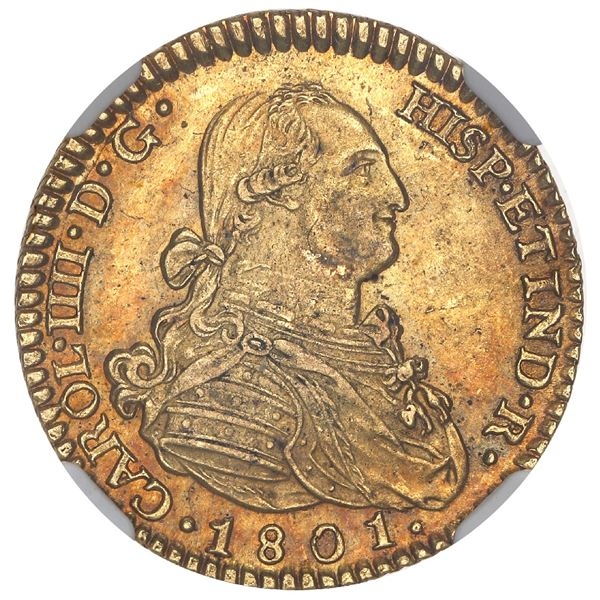 Madrid, Spain, gold bust 2 escudos, Charles IV, 1801FA, NGC MS 61.