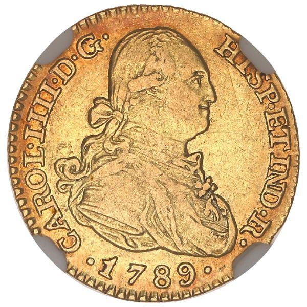 Madrid, Spain, gold bust 1 escudo, Charles IV, 1789MF, NGC AU 50.