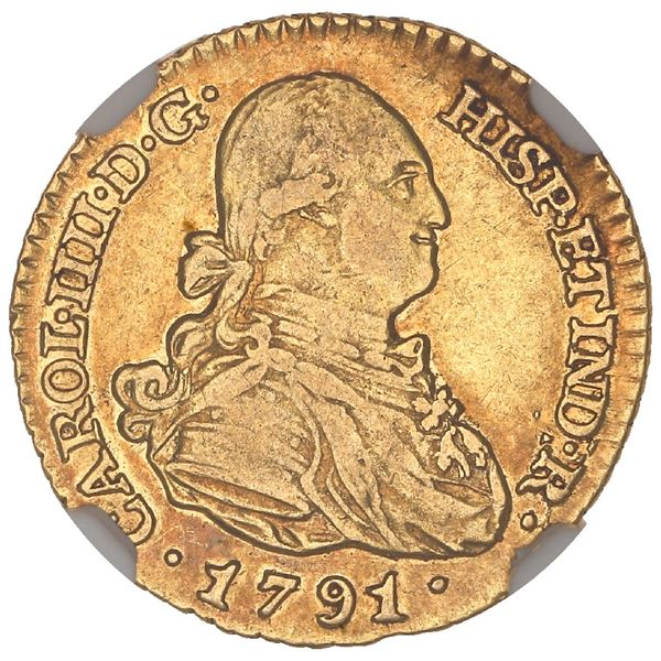 Madrid, Spain, gold bust 1 escudo, Charles IV, 1791MF, NGC XF 45.
