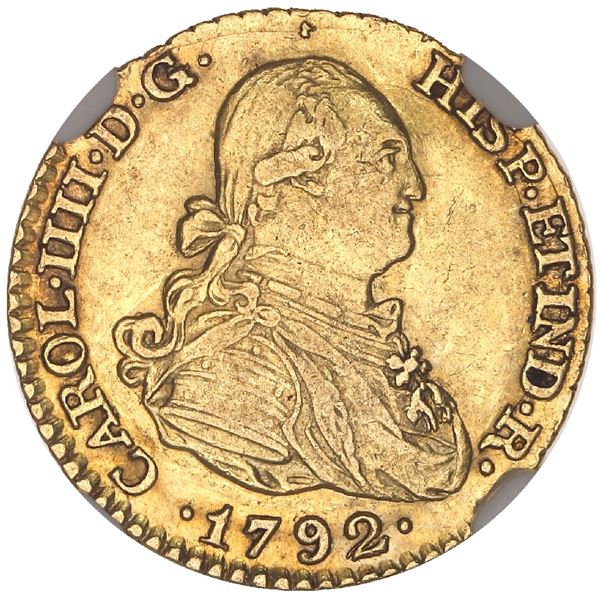 Madrid, Spain, gold bust 1 escudo, Charles IV, 1792MF, NGC AU 53.