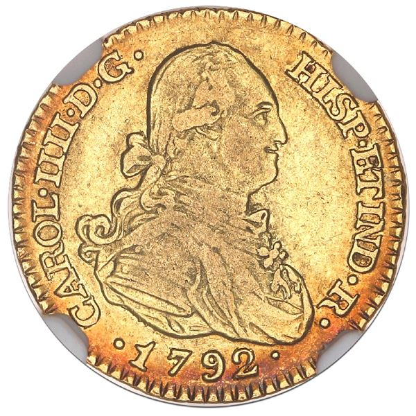 Madrid, Spain, gold bust 1 escudo, Charles IV, 1792MF, NGC XF 40.