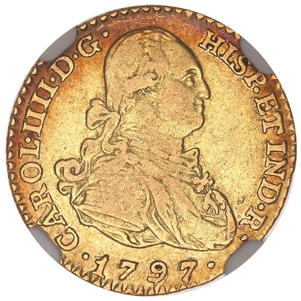Madrid, Spain, gold bust 1 escudo, Charles IV, 1797MF, NGC VF 35.