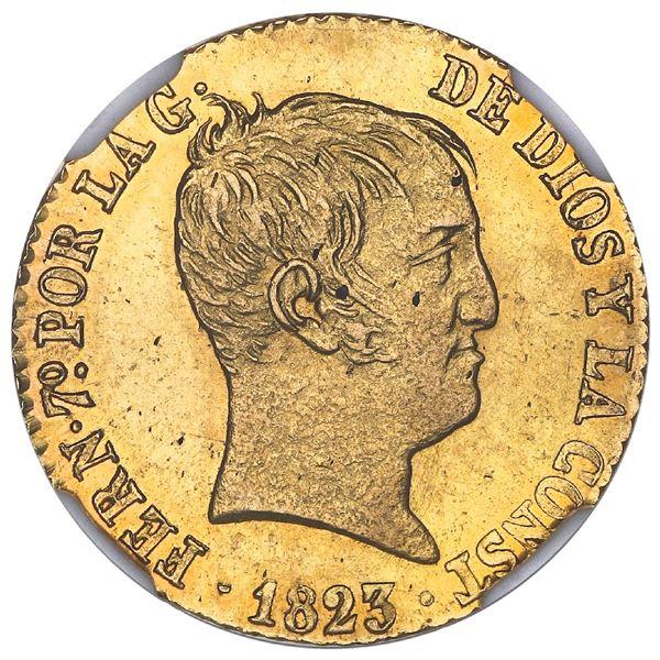 """Barcelona, Spain, gold 80 reales de vellon, Ferdinand VII, 1823SP, NGC MS 63 (""""top pop"""")."""