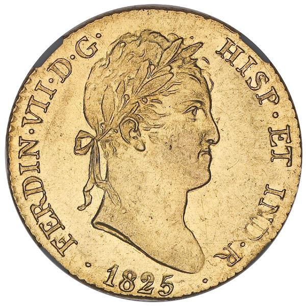 Madrid, Spain, gold bust 2 escudos, Ferdinand VII, 1825AJ, NGC AU 58.
