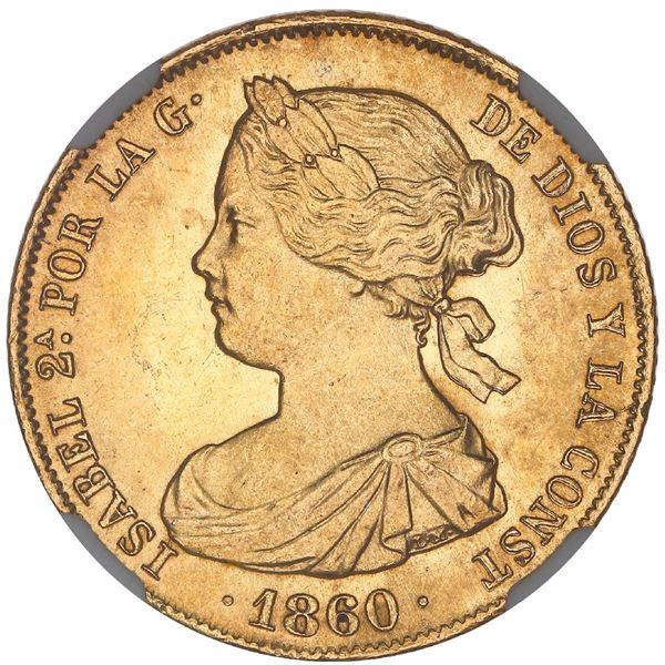 Madrid, Spain, gold 100 reales, Isabel II, 1860, NGC MS 64+.