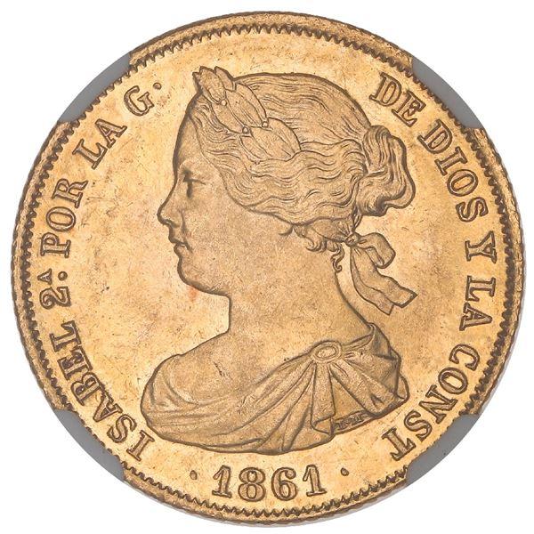 Madrid, Spain, gold 100 reales, Isabel II, 1861, NGC MS 64+.