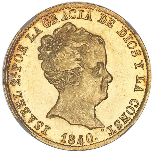 Barcelona, Spain, gold 80 reales de vellon, Isabel II, 1840PS, NGC MS 65*, finest known in NGC censu