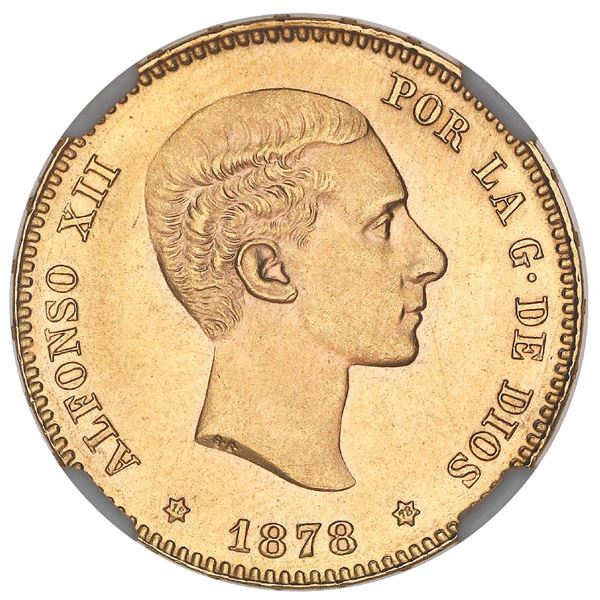 Madrid, Spain, gold 25 pesetas, Alfonso XII, 1878DE-M, with 18-78 inside stars, NGC MS 64.