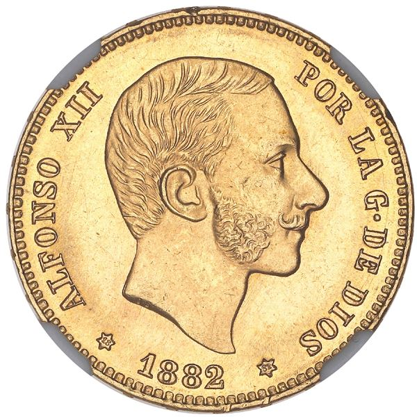 Madrid, Spain, gold 25 pesetas, Alfonso XII, 1882MS-M, with 18-82 inside stars, NGC MS 64+.