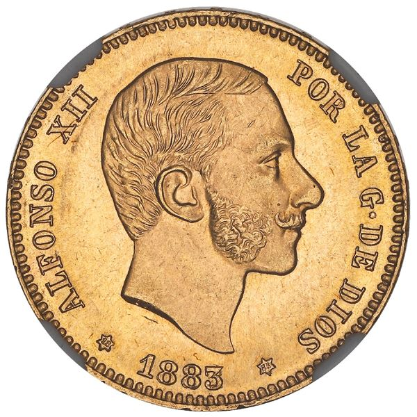 Madrid, Spain, gold 25 pesetas, Alfonso XII, 1883/2MS-M, with 18-83 inside stars, rare, NGC MS 64.