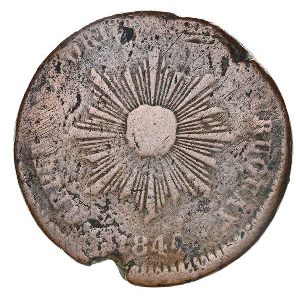 Montevideo, Uruguay, bronze 40 centesimos, 1844, female sunface, coin alignment, very rare.