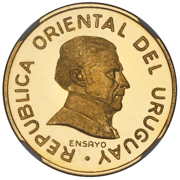 Uruguay, gold proof essai 2 pesos, 1994, granulated legends, NGC PF 65 Ultra Cameo, finest and only