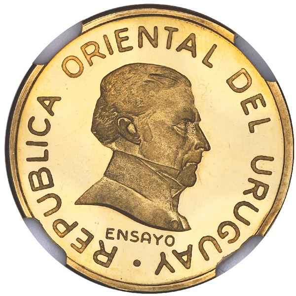 Uruguay, gold proof essai 1 peso, 1994, granulated legends, NGC PF 65 Ultra Cameo, finest and only e
