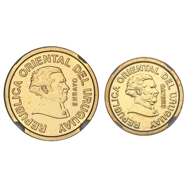 Pair of Uruguay gold essai 20 and 10 centesimos, 1994, NGC MS 66 and 64, both finest and only exampl