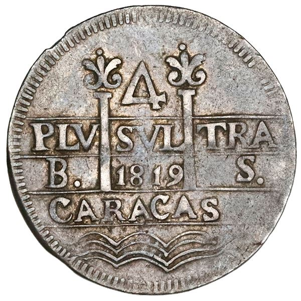 Caracas, Venezuela, 4 reales, Ferdinand VII, 1819BS, proper quadrants, very rare, NGC VF 35.