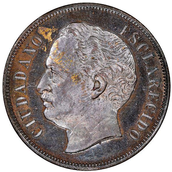 Venezuela, copper essai 2 centavos, 1863-E, NGC SP 61 BN.