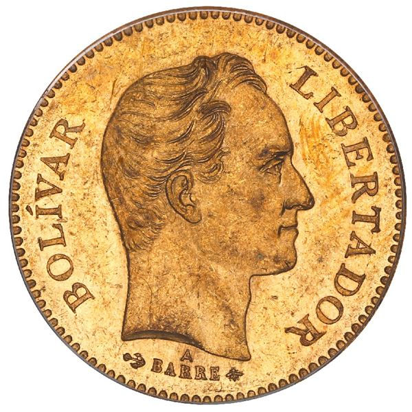 Venezuela (struck at the Paris mint), gold 5 venezolanos, 1875-A, PCGS MS62 (old green label).