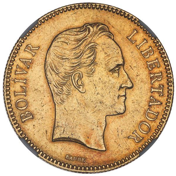 Venezuela, gold 100 bolivares, 1889, NGC AU 55.