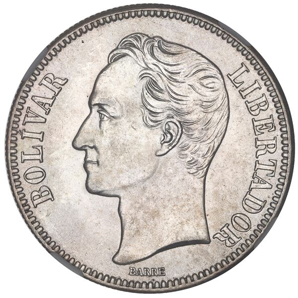 "Venezuela (struck at the Philadelphia mint), 5 bolivares, 1936, high 3, NGC MS 65 (""top pop"")."