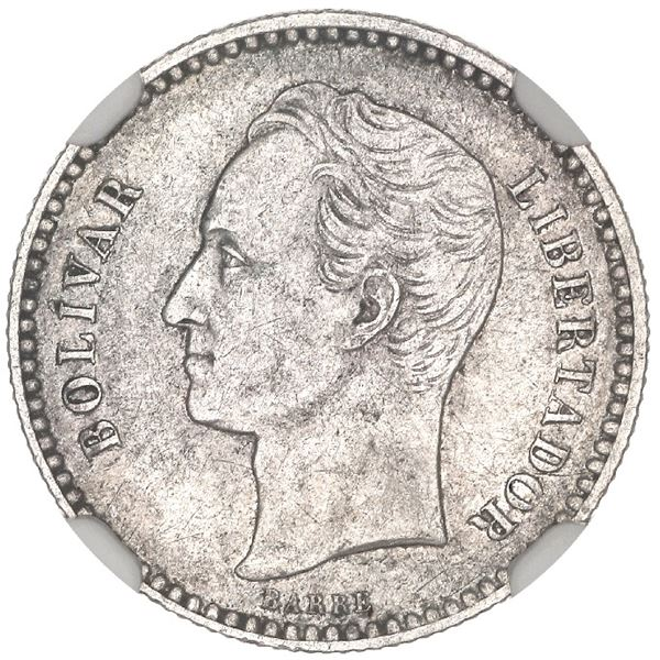 Venezuela (struck at the Brussels mint), 1/2 bolivar, 1879, NGC XF 45.