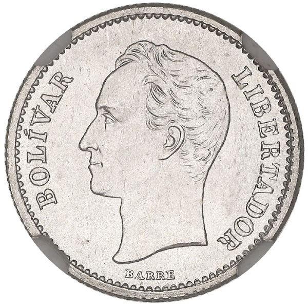 Venezuela (struck at the Philadelphia mint), 1/4 bolivar, 1919, NGC MS 65.