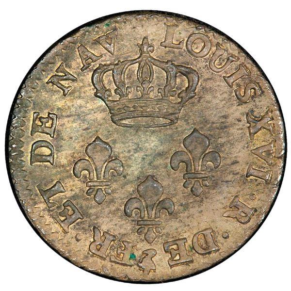 Windward Islands (French colonial, struck in Paris), billon pattern 2 sous 6 deniers, Louis XVI, 178