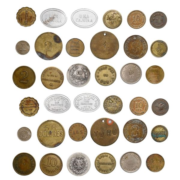 Large lot of 93 Latin American tokens, various dates and denominations, late 1800s to early 1900s.