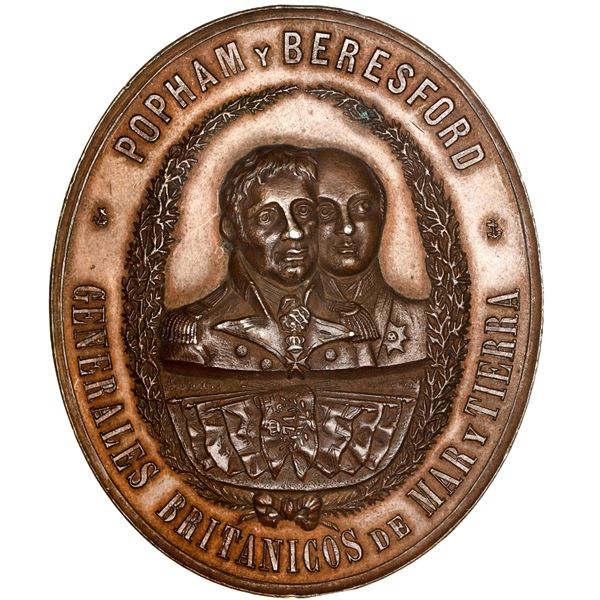 Argentina, bronze oval medal, 1893, by R. Grande, commemorating the reconquest of Buenos Aires from