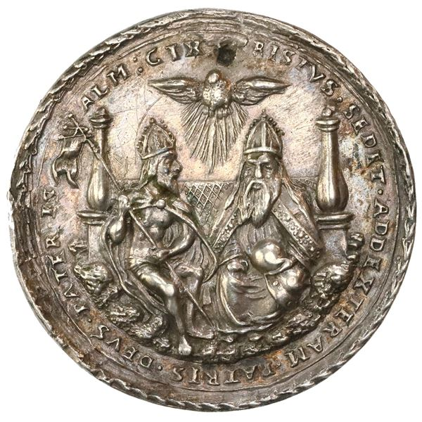 Bohemia (Holy Roman Empire), silver medal, undated (1500s), Holy Trinity, by N. Milicz, NGC AU detai