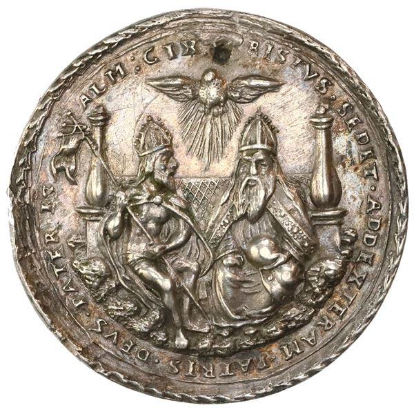 Bohemia (Holy Roman Empire), silver medal, undated (1500s), Holy Trinity, by N. Milicz, NGC AU detai