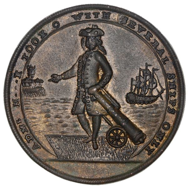 Great Britain, copper-zinc Admiral Vernon medal, 1739, Porto Bello, Admiral Haddock issue (rare), ex