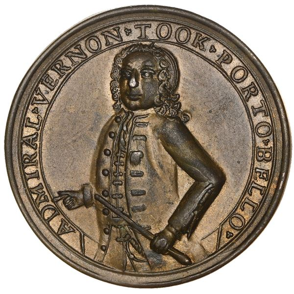 Great Britain, medium-sized copper-zinc Admiral Vernon medal, 1739, Porto Bello, ex-Adams (Plate).