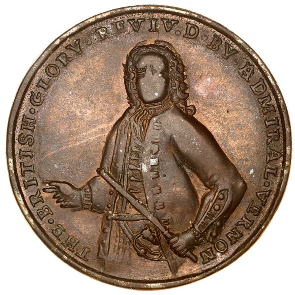 Great Britain, copper-zinc Admiral Vernon medal, 1739, Porto Bello, ex-Adams (Plate).