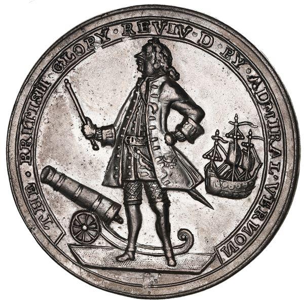 Great Britain, silver-plated copper-zinc Admiral Vernon medal, 1739, Porto Bello, ex-Adams (Plate).