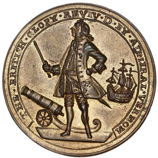Great Britain, copper-zinc Admiral Vernon medal, 1739, Porto Bello, ex-Adams.