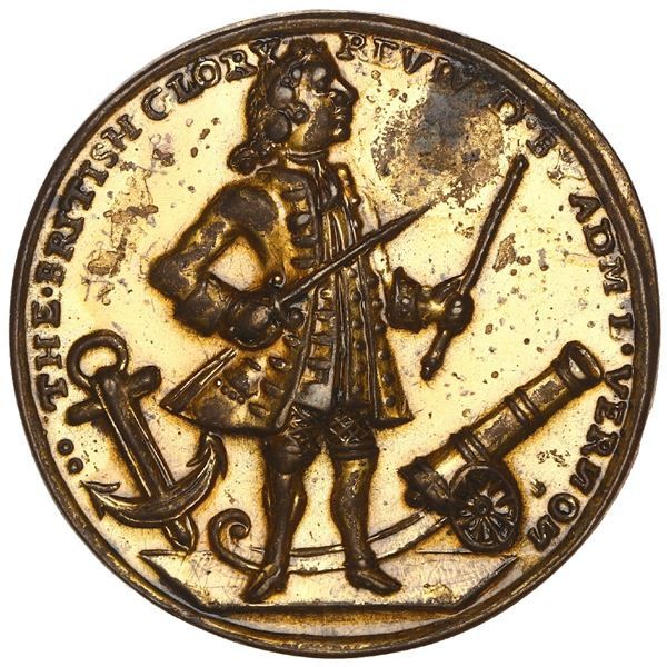 Great Britain, gilt small-sized copper-zinc Admiral Vernon medal, 1739, Porto Bello, ex-Adams.